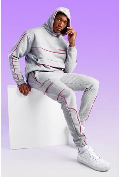 MAN Official Jogginghose mit Paspel in Rosa