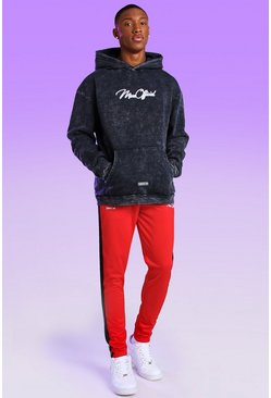 Red Skinny Fit MAN Official Tricot Side Tape Jogger