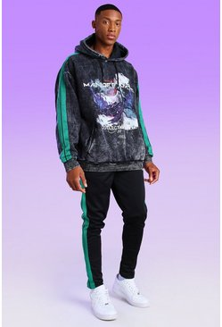 Oversized Acid Wash Scorpion Graphic Tape Tracksuit