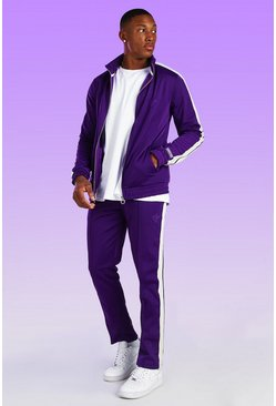 Dove Embroidered Tricot Tracksuit With Side Tape