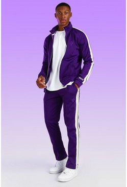 Purple Dove Embroidered Tricot Jogger with Tape