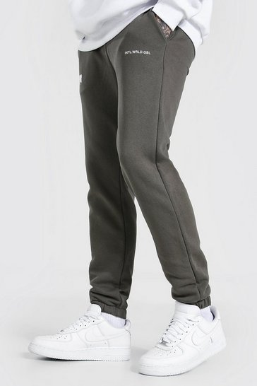 Olive green Loose Fit MAN Bungee Cord Jogger