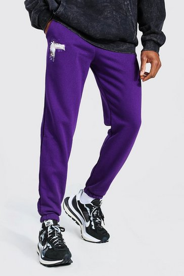 Purple Loose Fit MAN Bungee Cord Jogger