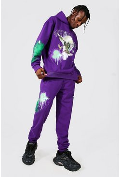 Purple Oversized Official Man Dove Graphic Print Hoodie