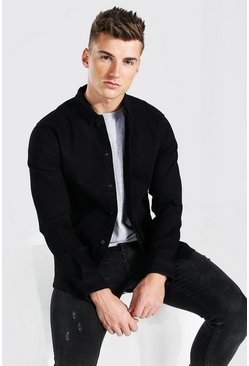 True black Muscle Fit Long Sleeve Denim Shirt