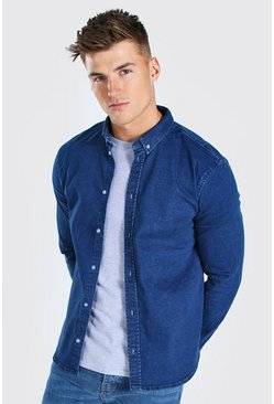 Mid blue blue Muscle Fit Long Sleeve Denim Shirt