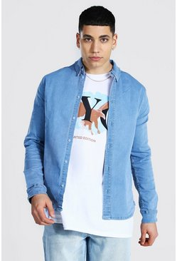 Muscle Fit Long Sleeve Denim Shirt, Light blue azzurro