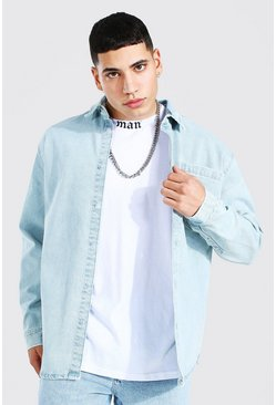 Oversized Long Sleeve Denim Shirt, Ice blue