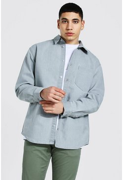 Ice grey Oversized Long Sleeve Denim Shirt