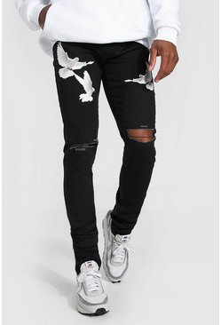 Washed black Skinny Stretch Stacked Dove Print Jean