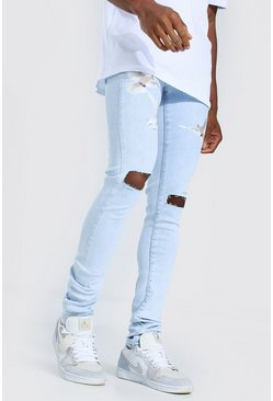 Ice blue Skinny Stretch Stacked Dove Print Jean