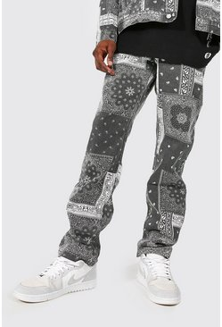 Mid grey grey Relaxed Fit Washed Bandana Print Jeans
