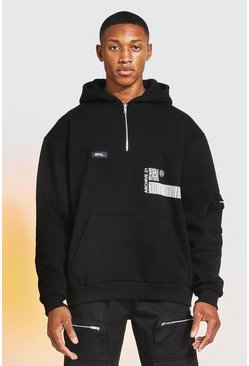 Black Oversized Half Zip Graphic Utility Hoodie
