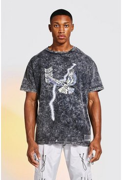 Charcoal Loose Fit Acid Wash Tokyo Graphic  T-Shirt