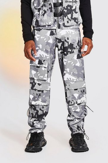 Grey Camo Zip Detail Cargo Trousers With Bungee Cuff