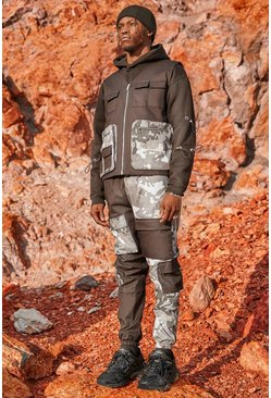 Spliced Camo Utilty Vest And Jogger Set
