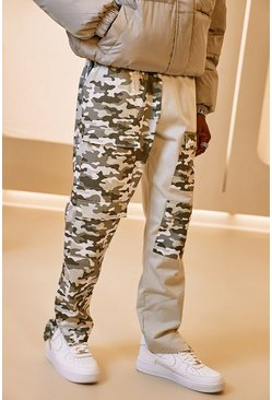 Light grey Spliced Camo Cargo Trouser With Side Poppers