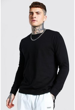 Black Basic Long Sleeve Crew Neck T Shirt