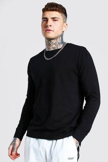 Black Basic Long Sleeve Crew Neck T Shirt