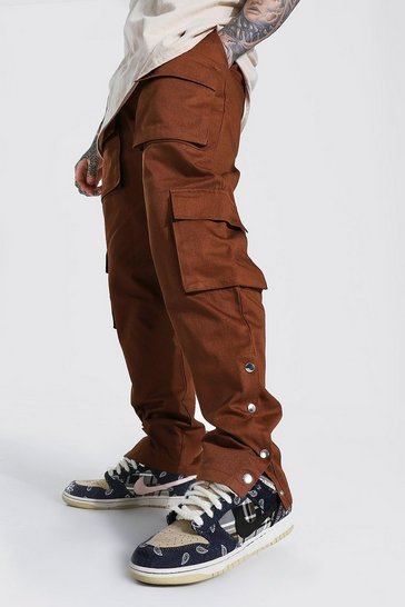 Chocolate brown Twill Popper Side Cargo Trouser
