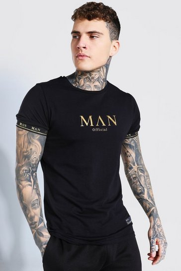 Black MAN Gold T-Shirt With Taped Cuff