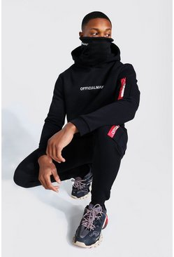 Black Official MAN Ma1 Snood Hooded Tracksuit