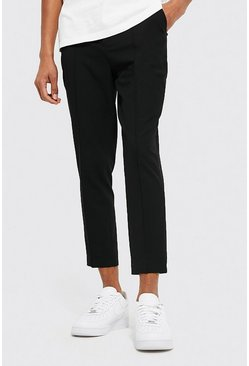 Black Skinny Plain Tapered Smart Pants With Pintuck
