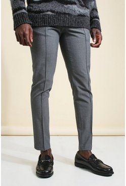 Grey Skinny Plain Tapered Smart Pants With Pintuck