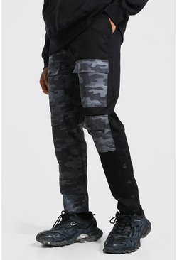 Khaki Spliced Camo Cargo Trouser With Side Poppers