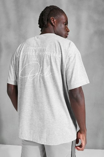 Grey marl grey Oversized Official Embroidered T-Shirt