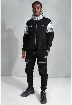 Black MAN Official Colour Block Tie Dye Tracksuit