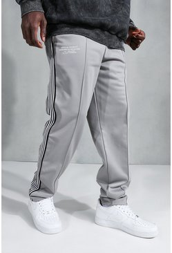 Grey Official Straight Leg Side Tape Tricot Jogger