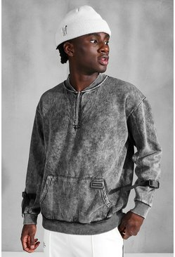 Charcoal grey Official Washed Utility Half Zip Sweater
