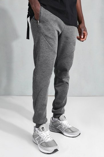 Charcoal grey Skinny Zip Stich Panel Detail Jogger