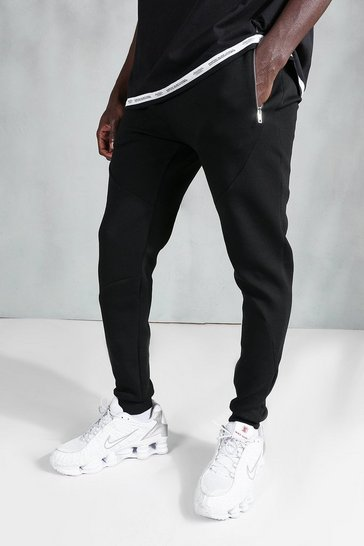 Black Skinny Zip Stitch Panel Detail Jogger