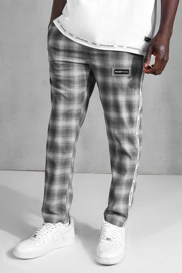 Grey Skinny Check Side Tape Cropped Formal Jogger