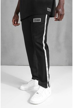 Black Skinny Plain Side Tape Cropped Formal Jogger