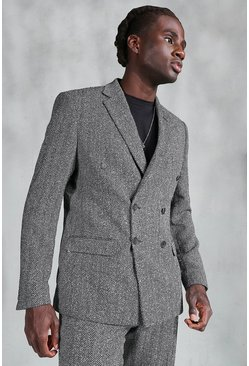 Grey Slim Herringbone Double Breasted Suit Jacket