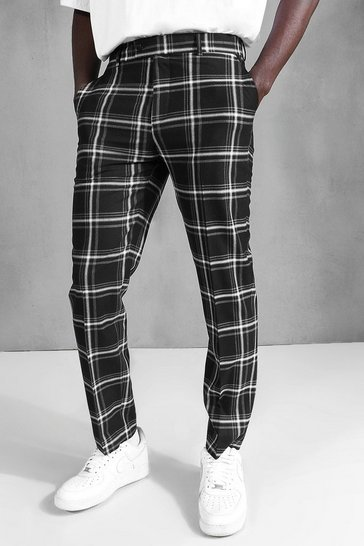 Black Slim Check Suit Trouser