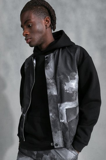 Black Printed Shell Utility Vest