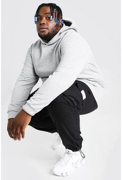 Plus Size Heavyweight Over The Head Hoodie, Grey marl Серый