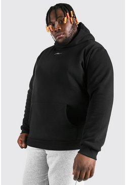 Plus Size MAN Script Heavyweight Hoodie, Black negro