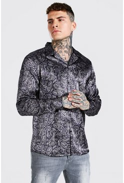 Chocolate brown Long Sleeve Paisley Print Satin Shirt