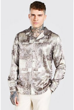 Beige Long Sleeve Bandana Print Satin Shirt