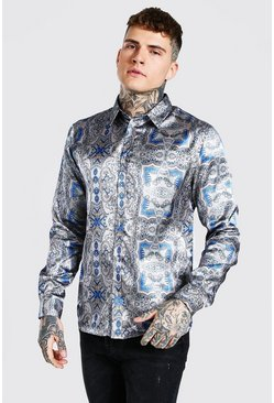 Taupe beige Long Sleeve Baroque Print Satin Shirt