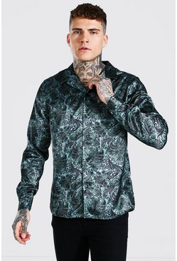 Sage green Long Sleeve Floral Print Satin Shirt
