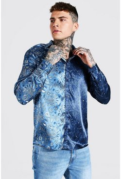 Blue Long Sleeve Spliced Paisley Print Satin Shirt