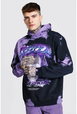 Black Oversized Official Tie Dye Schedel Hoodie