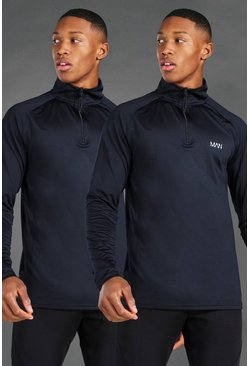 Black MAN Active 2 Pack 1/4 Zip Funnel Neck Top