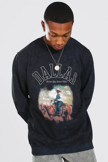 Charcoal grey Oversized Acid Wash Dallas Print Sweatshirt